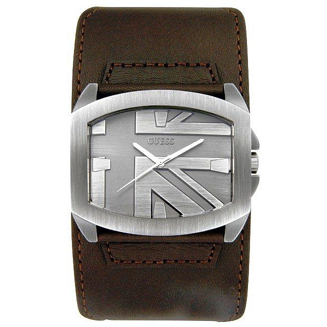 Guess Men's Brown Leather Strap Trend Grey Dial Watch ...