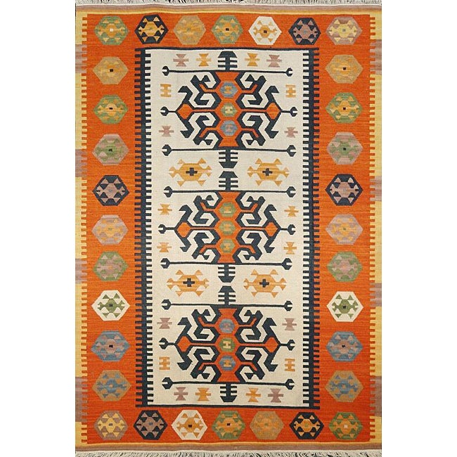 Turkish Rug Orange: Handmade Hereke Kilim Orange Wool Area Rug (6' X 9