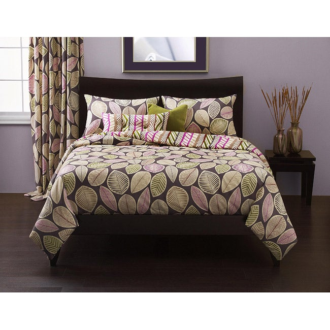 Lost Leaves Reversible 6-piece Full-size Duvet Cover Set