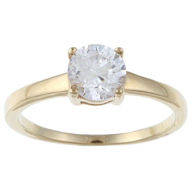 Sterling Essentials 14K Gold over Silver Cubic Zirconia Engagement-style Ring
