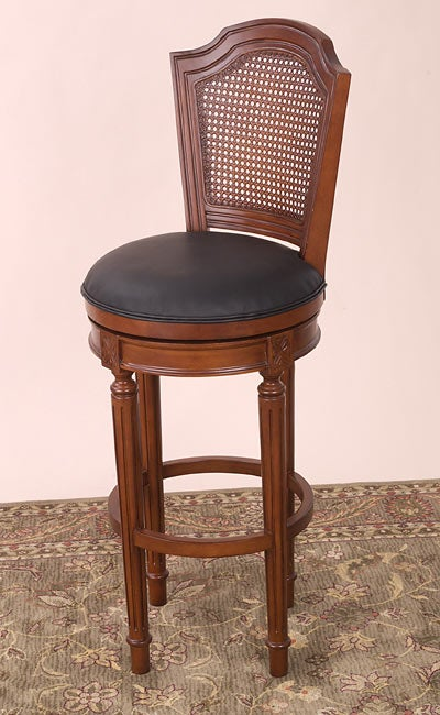 Louis Xvi Swivel Counter Stool With Cane Back Leather