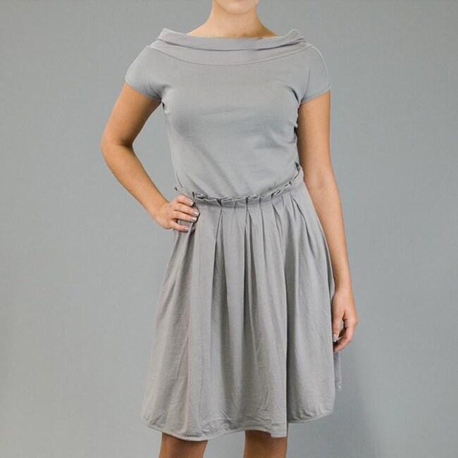 AtoZ Women's Cap Sleeve Pleated Waist Dress
