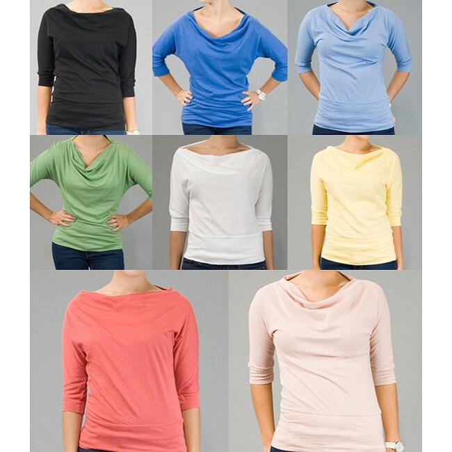 AtoZ Women's Cowl Neck 3/4-sleeve Cotton Top