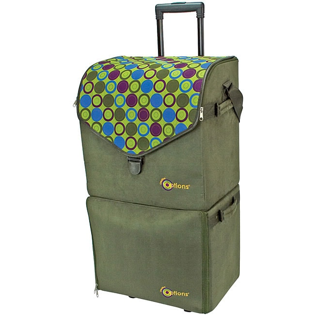 Creative options sage double decker rolling tote free for Arts and crafts tote bags