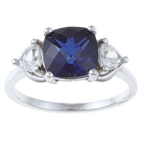 Sterling Silver Created Blue and White Sapphire Ring