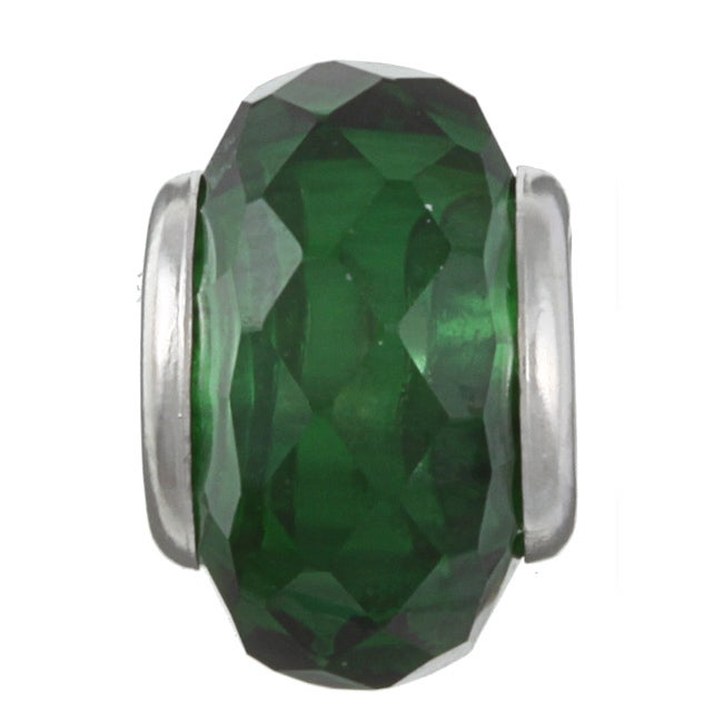 Sterling Essentials Sterling Silver Faceted Green Cubic Zirconia Bead
