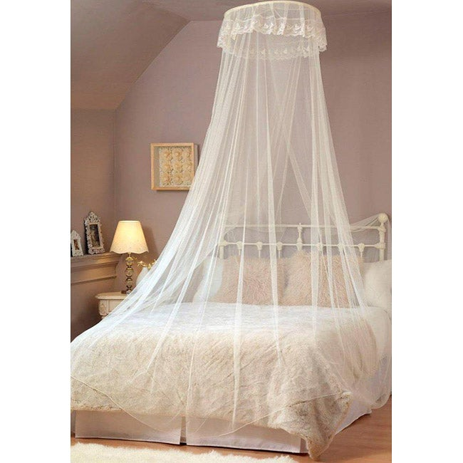 Elegant White Lace Bed Canopy/ Mosquito Net - 13475026 - Overstock ...