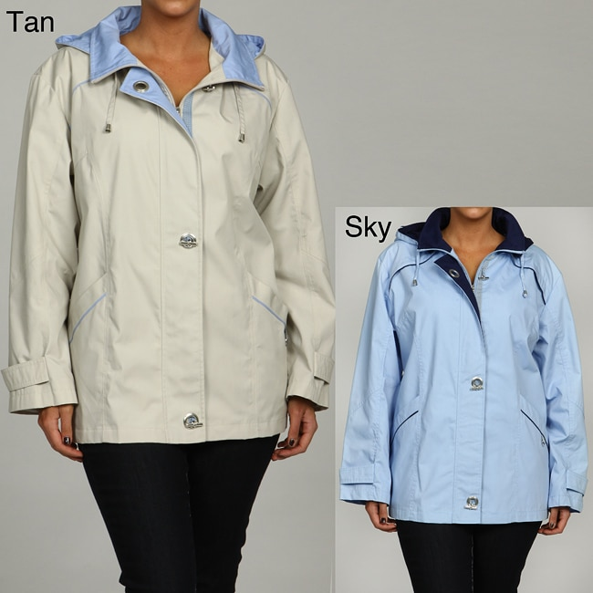 Mackintosh Women's Plus Size Water-resistant Hooded Jacket