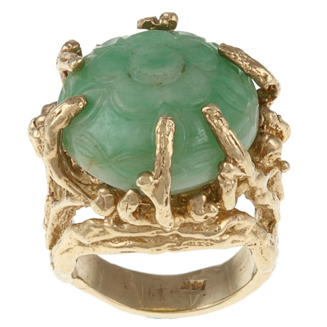 14k Yellow Gold Carved Jade Estate Ring
