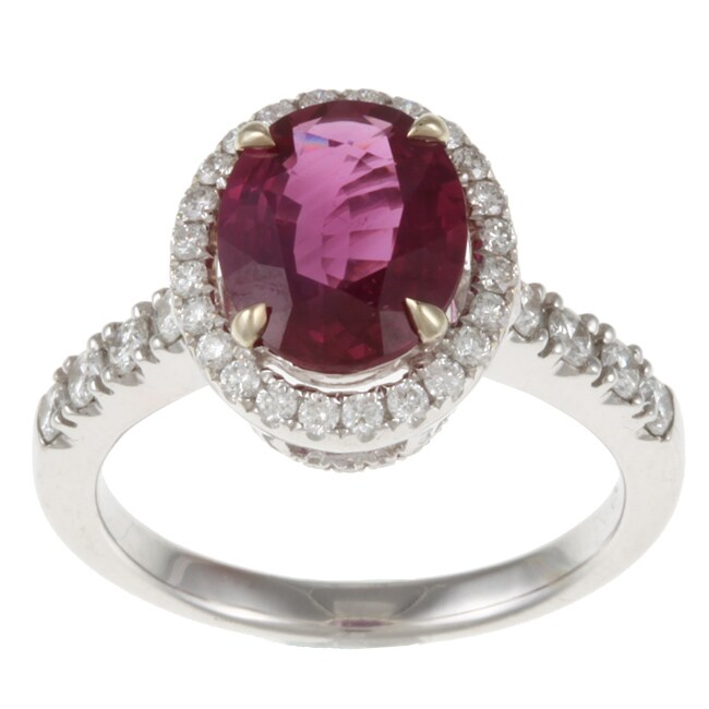 18k White Gold Ruby and 2/5ct TDW Diamond Estate Ring (G-H, VS2-SI1)