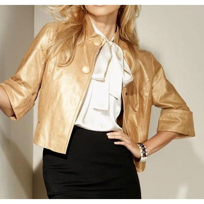 Spiegel Women's Metallic Gold Suede Jacket
