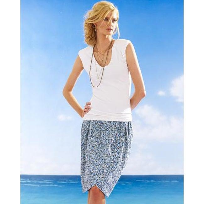 Newport News Women's Cotton Reversible Floral Tulip Skirt