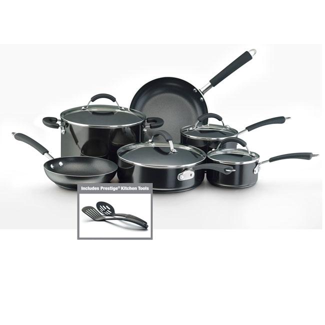 Farberware Millennium Nonstick Aluminum 12-piece Black Cookware Set