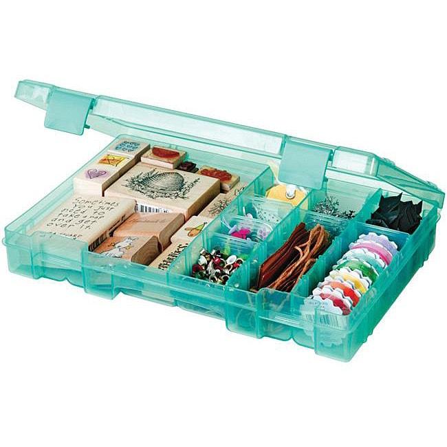 Art Bin Translucent Teal 4-19-compartment Solutions Box
