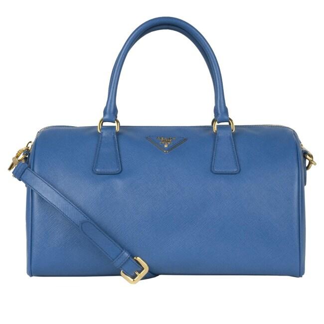 54cfeddf8c Shop Prada  Saffiano Lux  Blue Leather Bowler Bag - Free Shipping ...