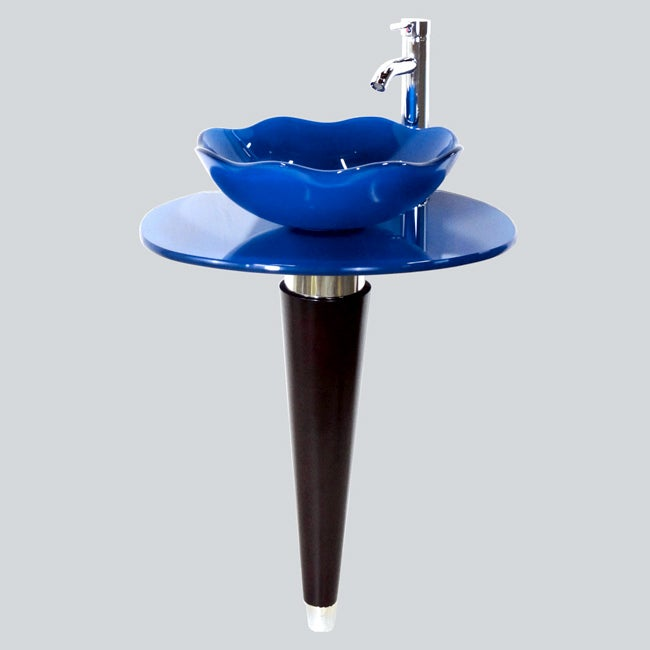 Kokols wallmount pedestal glass vessel sink bathroom - Bathroom vessel sink vanity combo ...