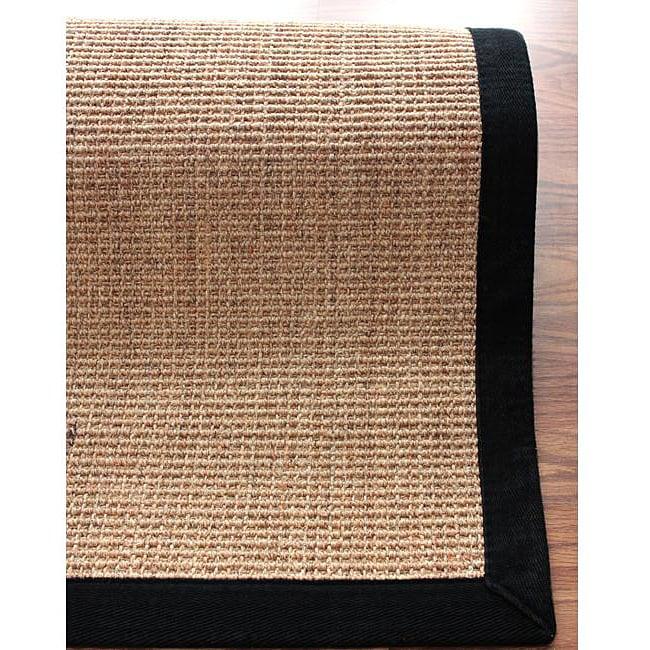 Handmade Eco Natural Fiber Black Cotton Border Sisal Rug