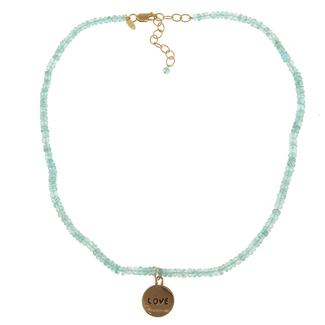 14k Gold over Sterling Silver 'Love' Apatite Necklace