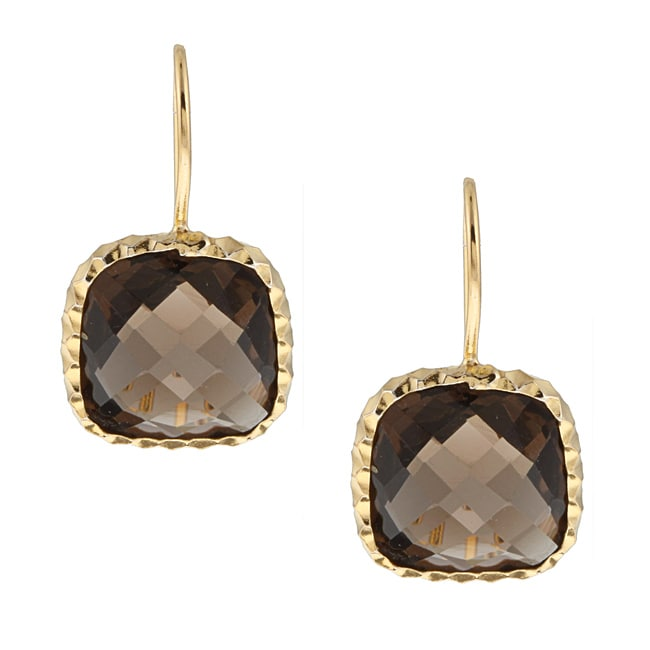 Zoe B 14k Gold over Sterling Silver Smokey Quartz Earrings - Thumbnail 0