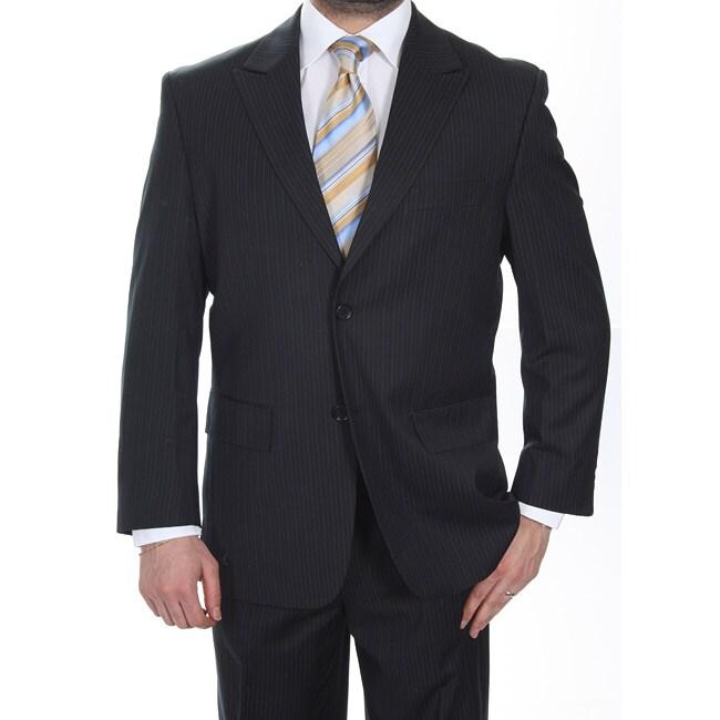 Ferrecci Men's Black Pinstripe 2-button Suit