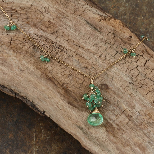 Goldfill 14k Green Topaz and Emerald Necklace