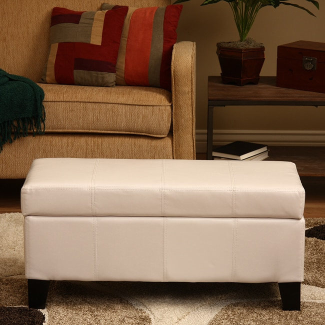 Warehouse Of Tiffany Ariel White Faux Leather Storage Bench Free Shipping Today Overstock