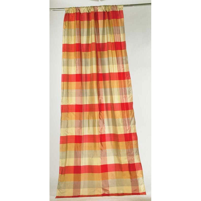 Pure Silk 108-inch Dupioni Red Checks Curtain Panel (India)