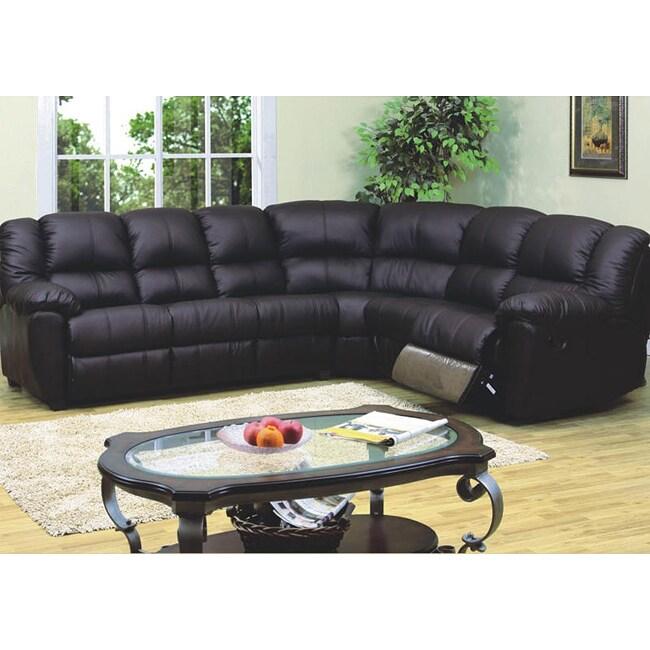 Black leather match sleeper sectional sofa free shipping for Sectional sleeper sofa overstock