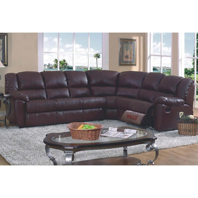 Brown Leather Match Full Sleeper Reclining Sectional Sofa ...