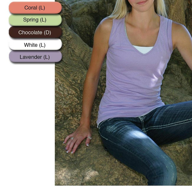 Green Brand Women's Eco-friendly Sleeveless V-neck T-shirt