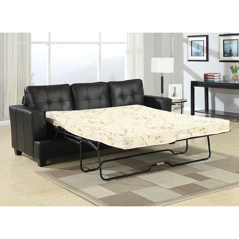 Diamond Black Faux Leather Sleeper Sofa