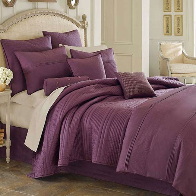 Opulence Plum King Size Silk Coverlet Free Shipping