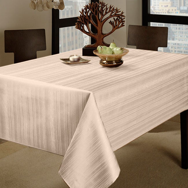 Flow Contemporary Spill Proof Ivory 60x84 Tablecloth