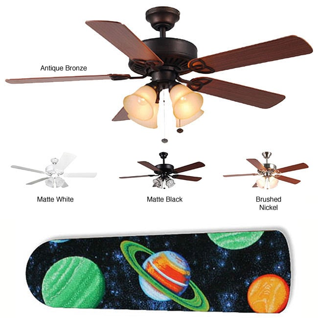 New Image Concepts Four-Light Outer Space Designer Blade Ceiling Fan