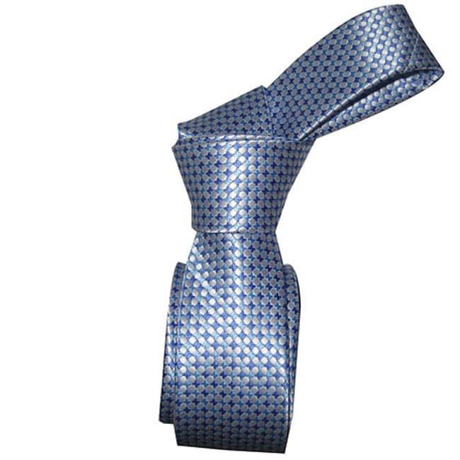 DMITRY Men's Silk Light Blue Skinny Tie