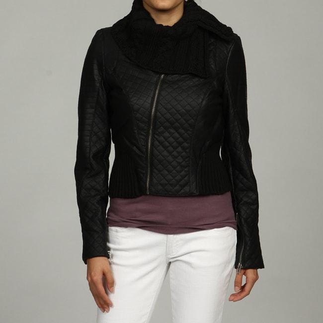 Black Rivet Women's Quilted Knit Trim Jacket