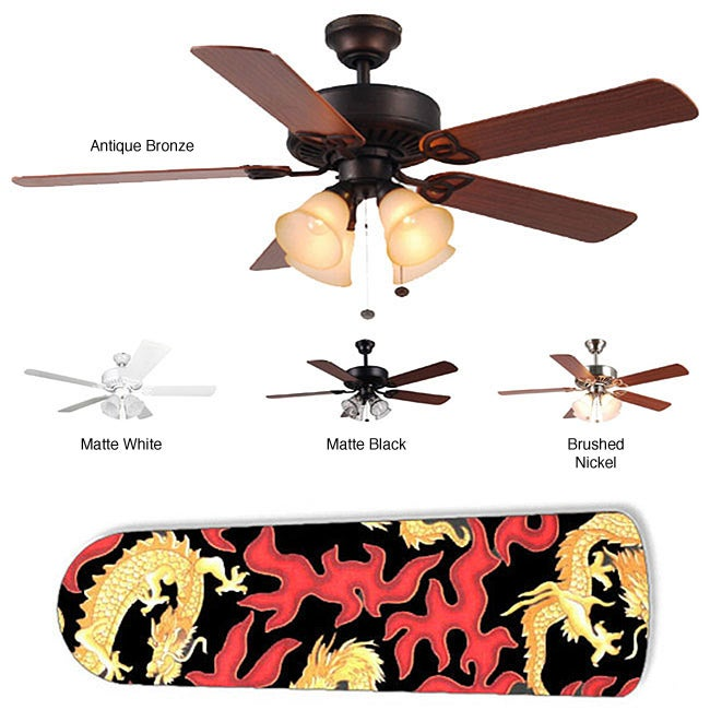 New Image Concepts 4-light Ceiling Fan with Asian Golden Dragon Blades