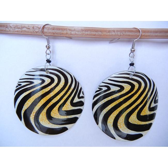 Handmade Silverplated Cow Bone Animal Print Earrings (Kenya)