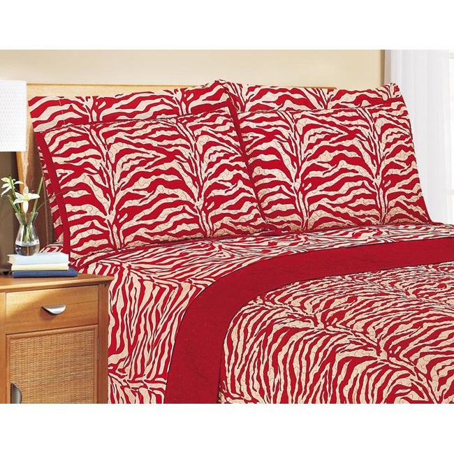 Shop Red And White Zebra Print King Size Quilt Free Shipping Today
