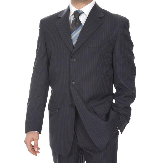 Ferrecci Men's Navy Stripe 3-button Suit