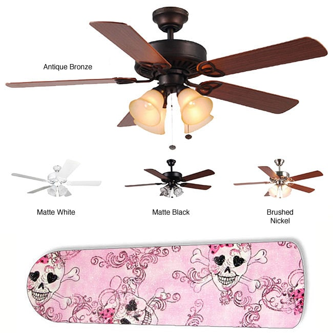 New Image Concepts 4-light Ceiling Fan with Pink Skull Blades