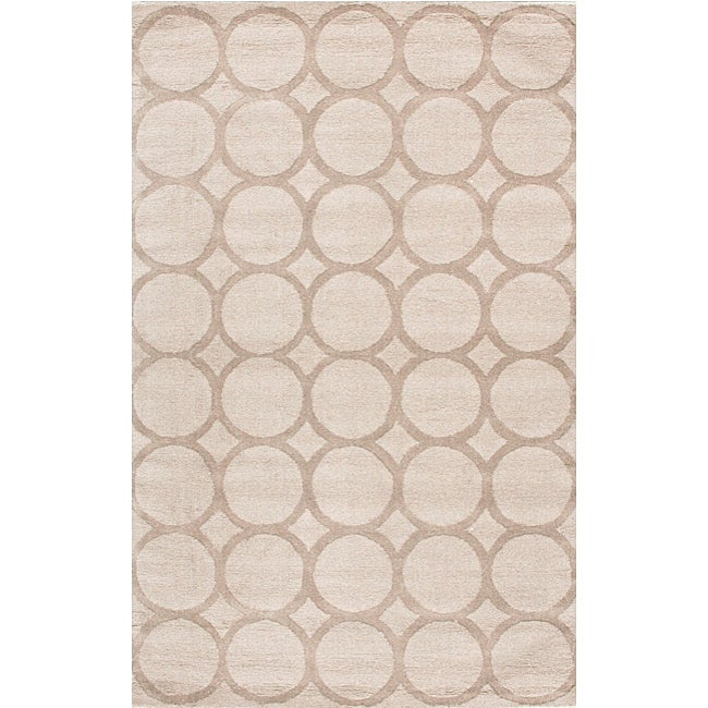 Shop Nuloom Handtufted Spectrum Circles Ivory Wool Rug 5