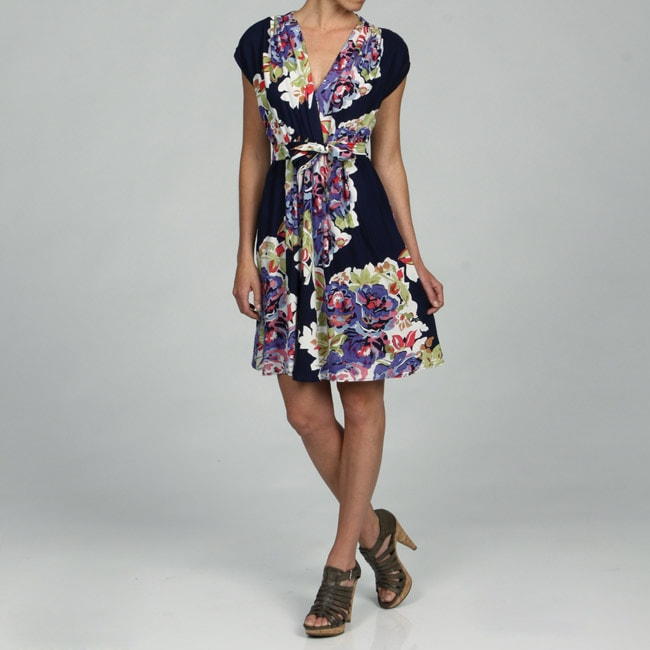 Lola P Women's Floral Mock Wrap Cap-sleeve Dress