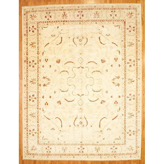 Shop Afghani Hand Knotted Ivory Vegetable Dye Oushak Wool