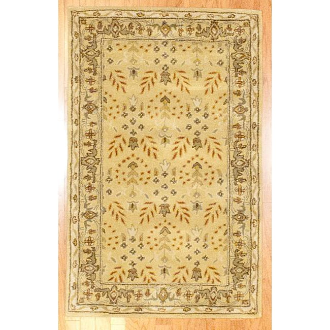 Indo Hand-tufted Gold Wool Rug (3'3 x 5'3) - Thumbnail 0