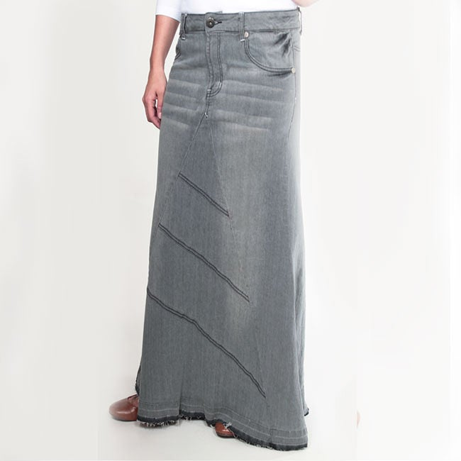 Tabeez Women's Frayed Grey Long Denim Skirt - Free Shipping On ...