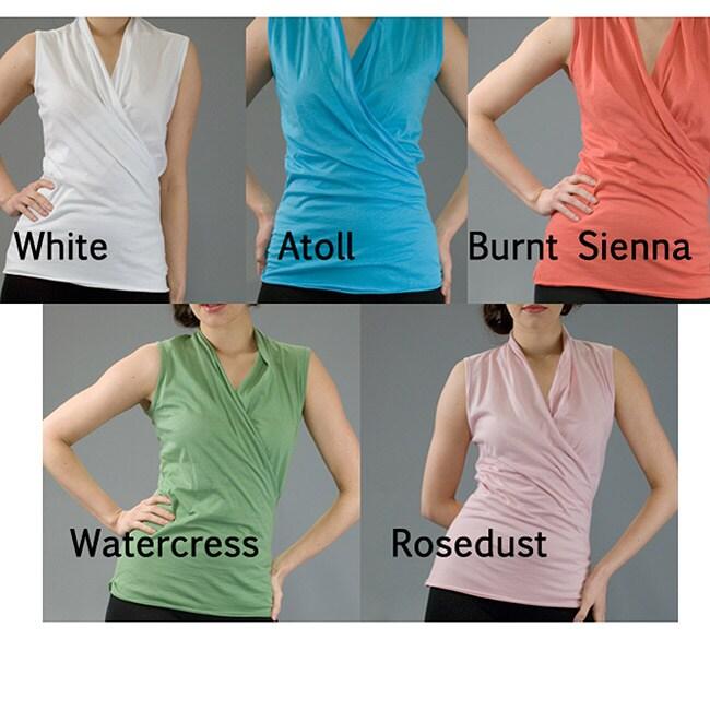 AtoZ Women's Cotton Sleeveless Wrap Top