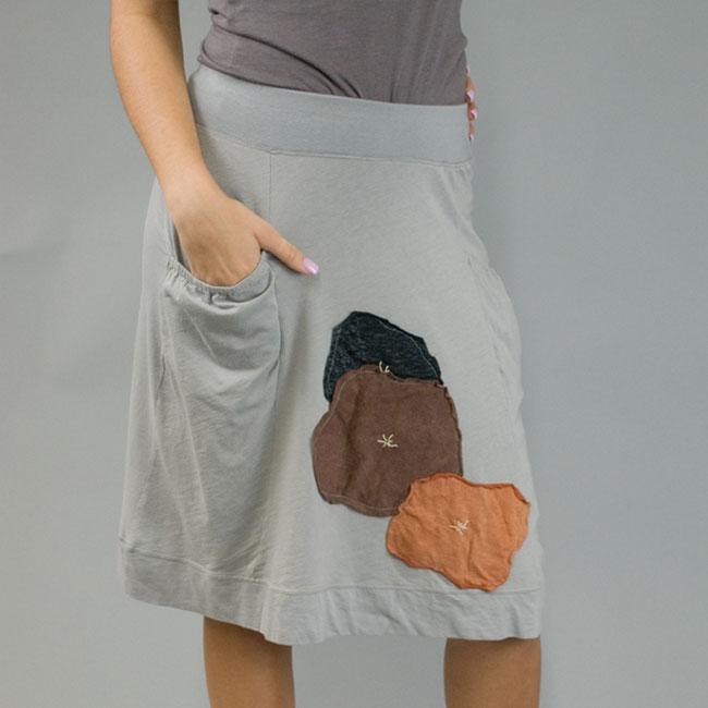 AtoZ Women's Cotton Applique Panel Skirt