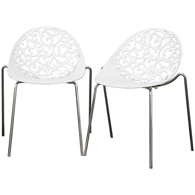 Camelia white plastic filigree dining chair set of 2 for White plastic kitchen chairs
