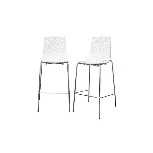 Spring White Plastic Modern Bar Stool Set Of 2 Free